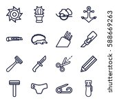 sharp icons set. set of 16... | Shutterstock .eps vector #588669263