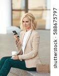 beautiful business woman in... | Shutterstock . vector #588675797