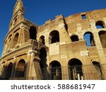 Small photo of The Colosseum or the Flavian amphitheater is a monument of architecture of Ancient Rome, preserved until our time. Located in Rome, in a hollow between the Esquiline, Palatine and Caelius hills.