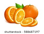 oranges whole  cut and slices.... | Shutterstock .eps vector #588687197
