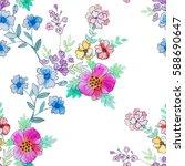 watercolor floral botanical... | Shutterstock . vector #588690647
