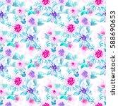 watercolor floral botanical...   Shutterstock . vector #588690653