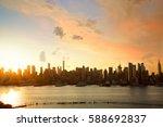sunrise of manhattan skyline ... | Shutterstock . vector #588692837