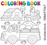 coloring book with farm truck   ... | Shutterstock .eps vector #588697067