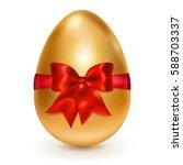 realistic golden easter egg... | Shutterstock .eps vector #588703337