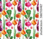 corn  painted in watercolor.... | Shutterstock . vector #588703487