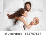 young cute couple together in... | Shutterstock . vector #588707687
