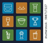 cup icons set. set of 9 cup... | Shutterstock .eps vector #588717227