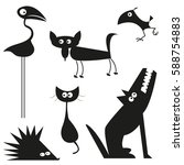 animals set | Shutterstock .eps vector #588754883