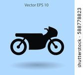 flat motorcycle icon | Shutterstock .eps vector #588778823