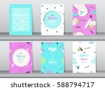 set of baby shower card on... | Shutterstock .eps vector #588794717