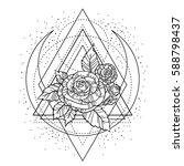 rose flower with sacred... | Shutterstock .eps vector #588798437