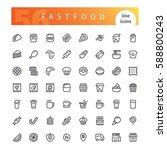 set of 56 fastfood line icons... | Shutterstock .eps vector #588800243