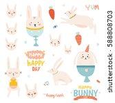 happy easter set in vector.... | Shutterstock .eps vector #588808703
