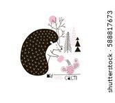 little hedgehog watering cactus ... | Shutterstock .eps vector #588817673