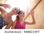 joyful portrait of beautiful...   Shutterstock . vector #588821597
