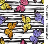butterfly seamless hand drawn... | Shutterstock .eps vector #588857927