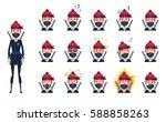 big set of female ninja... | Shutterstock .eps vector #588858263