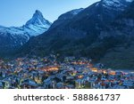 mountain matterhorn in zermatt  ... | Shutterstock . vector #588861737