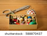set of old sewing accessories... | Shutterstock . vector #588870437