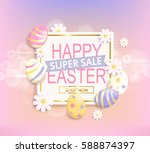 happy easter super sale banner  ... | Shutterstock .eps vector #588874397