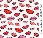 doodle lips vector pattern | Shutterstock .eps vector #588881063