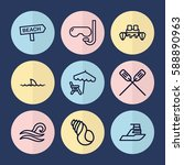 Set Of 9 Sea Outline Icons Suc...