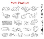 vector  illustration of meat... | Shutterstock .eps vector #588899753