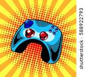 joystick comic book pop art... | Shutterstock .eps vector #588922793