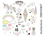Unicorn Magic Design Element Set