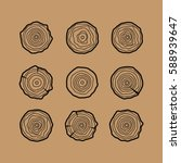 set of four tree rings icons.... | Shutterstock .eps vector #588939647
