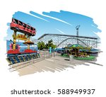 mexico. six flags amusement... | Shutterstock .eps vector #588949937