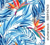 Watercolor Tropical Leaves And...