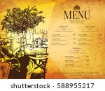 restaurant menu design. vector... | Shutterstock .eps vector #588955217