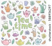 set of cute doodle teapots and... | Shutterstock .eps vector #588956297