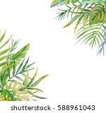 watercolor tropical design... | Shutterstock . vector #588961043