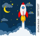 start up of the space rocket.... | Shutterstock .eps vector #588972107