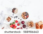 healthy breakfast with muesli ... | Shutterstock . vector #588986663