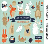 vector easter set with cute... | Shutterstock .eps vector #588993533