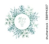 eucalyptus wedding invitation.... | Shutterstock .eps vector #588994307
