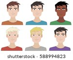vector portraits young guys   Shutterstock .eps vector #588994823