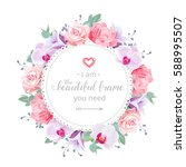 beautiful wedding floral vector ... | Shutterstock .eps vector #588995507