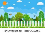 summer and spring nature... | Shutterstock .eps vector #589006253