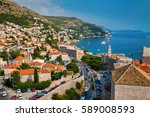 aerial view of the dubrovnik... | Shutterstock . vector #589008593