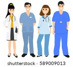 group of doctors in a hospital  ... | Shutterstock . vector #589009013
