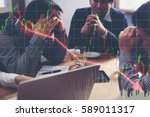 team businessman with chart in... | Shutterstock . vector #589011317