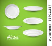 empty white plates on the green ... | Shutterstock .eps vector #589011857