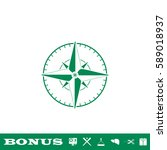 compass icon flat. green...