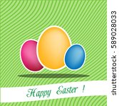 easter eggs  stickers on green... | Shutterstock .eps vector #589028033