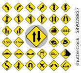 traffic sign icon set.vector... | Shutterstock .eps vector #589028837